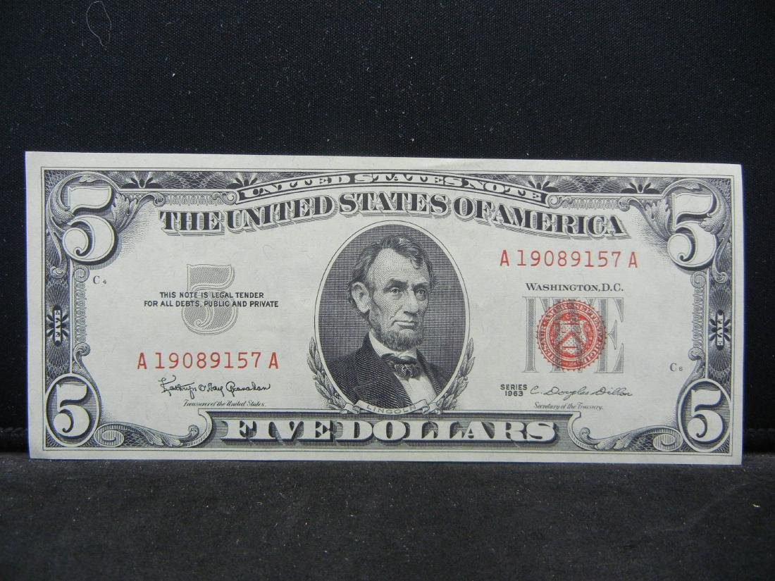1963 $5 US Red Seal Note.  Choice Crisp Uncirculated