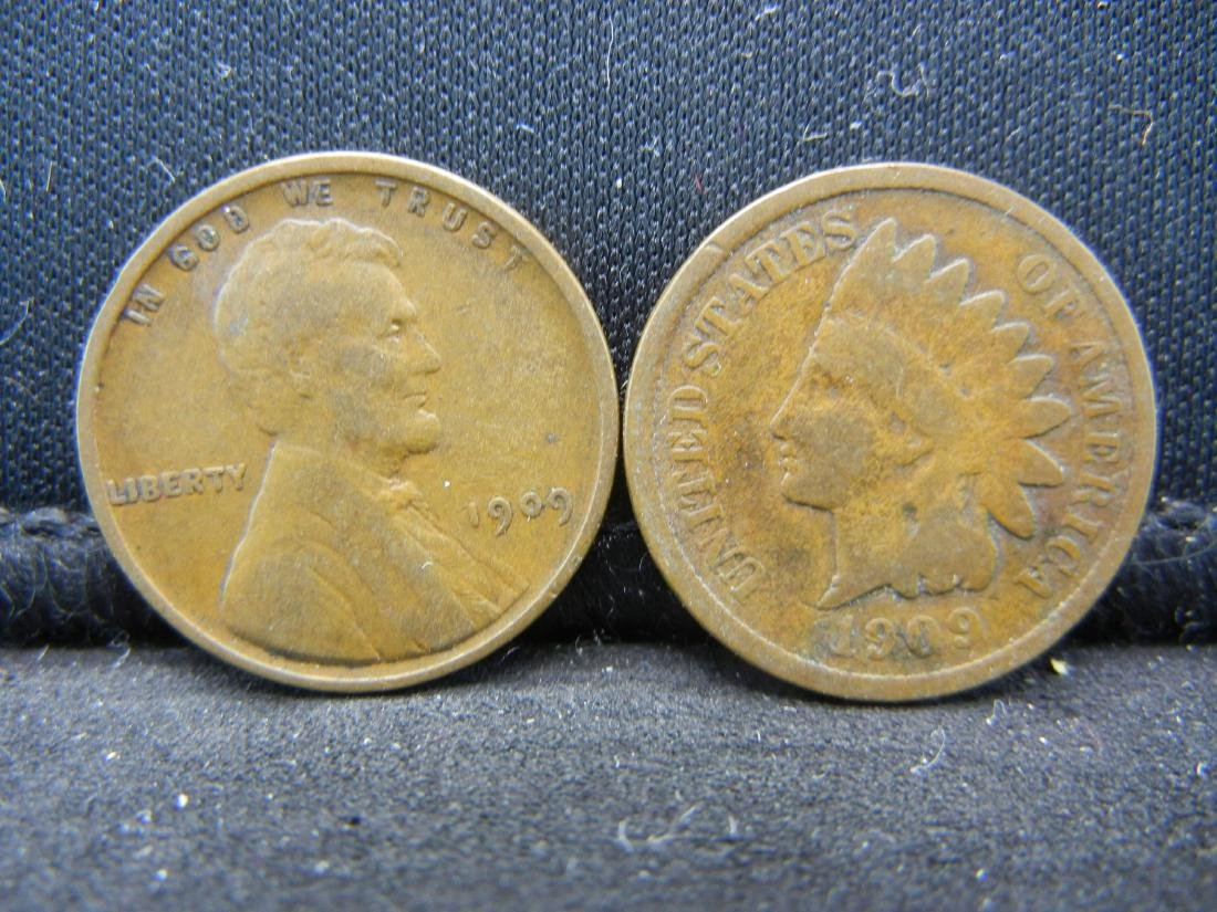 1909 Indian Cent and 1909-VDB Lincoln Cent.