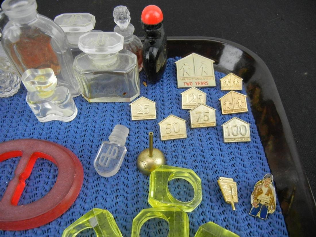 Vintage Perfume bottles, Shirt Pens and Rings - 2