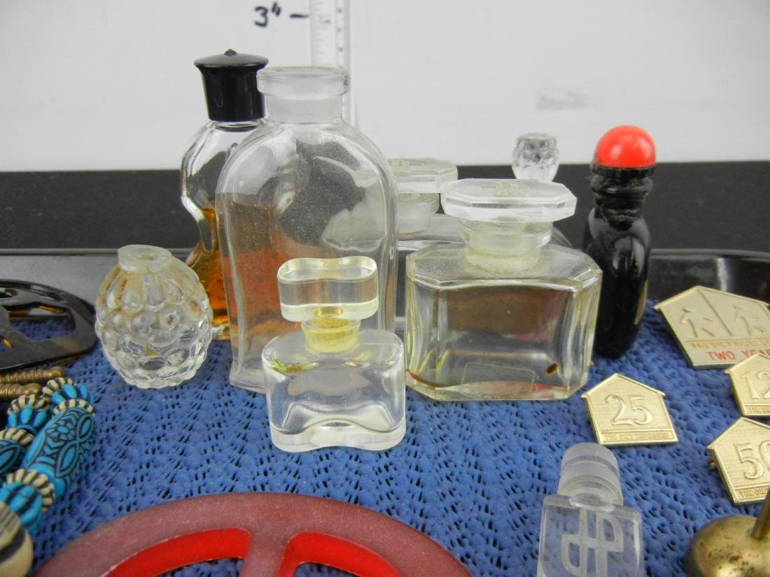 Vintage Perfume bottles, Shirt Pens and Rings - 3