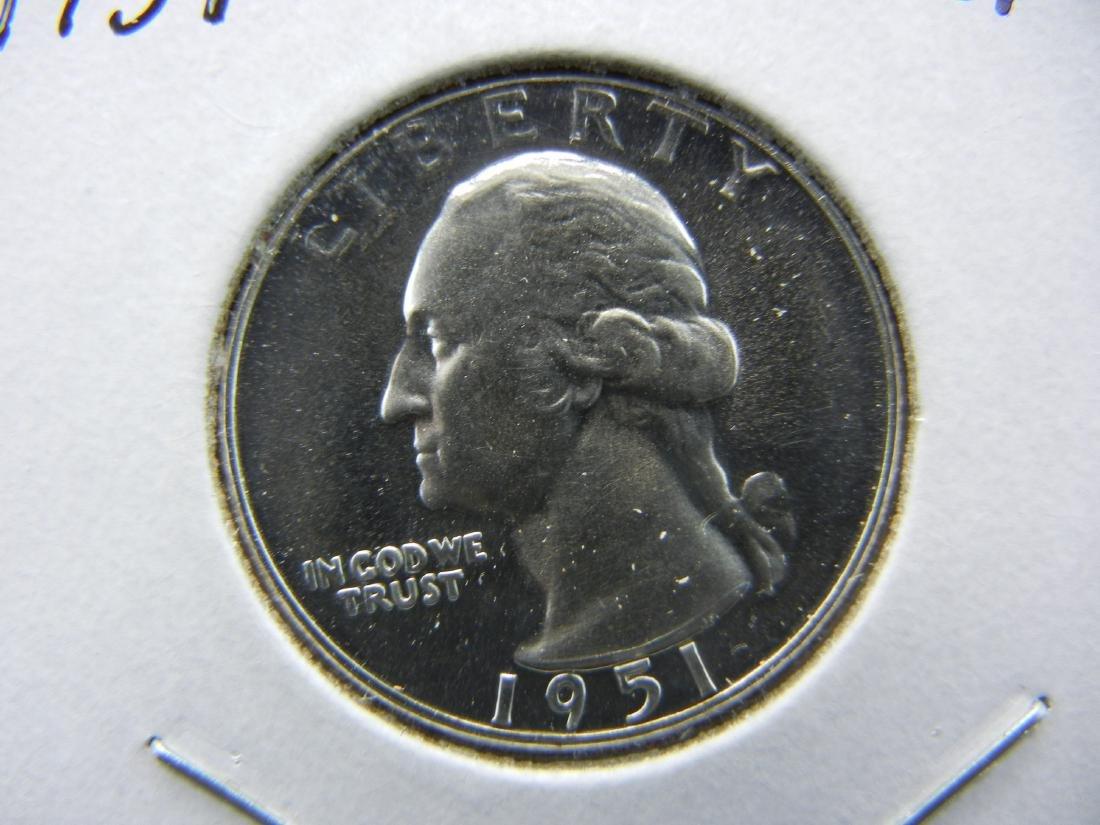 1951 Washington Quarter.   Choice Proof.  Very white
