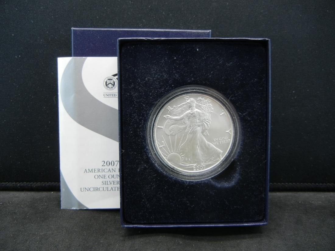 2007 W Burnished Surface American Silver Eagle in