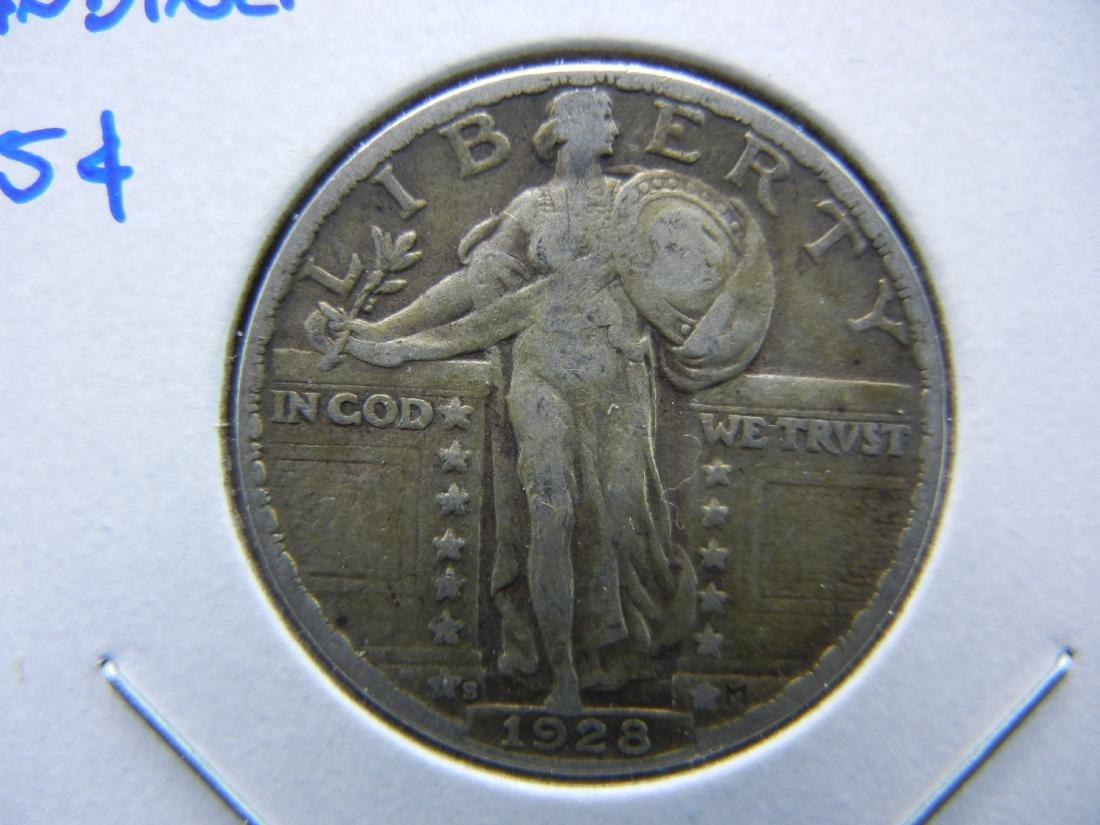 1928-S Standing Quarter.  XF.