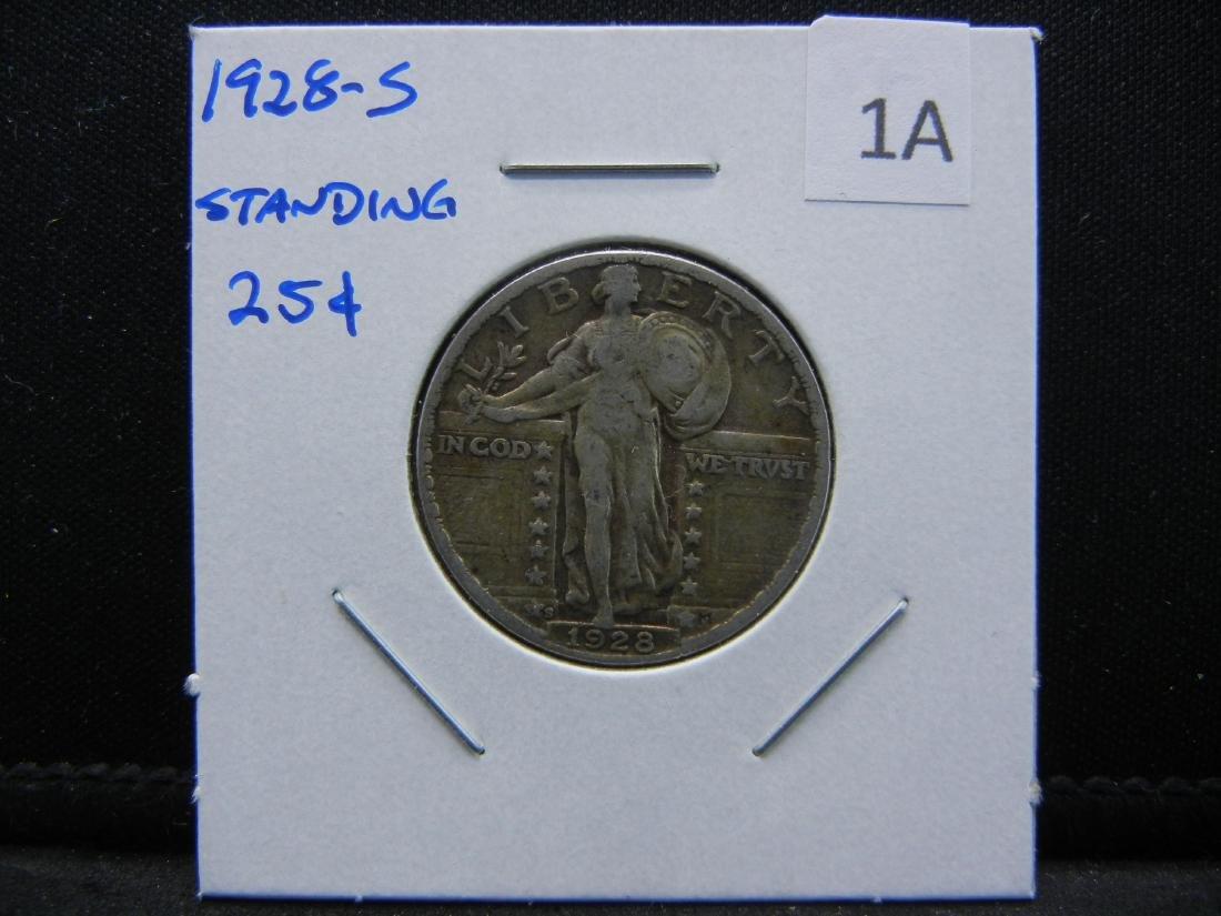 1928-S Standing Quarter.  XF. - 3