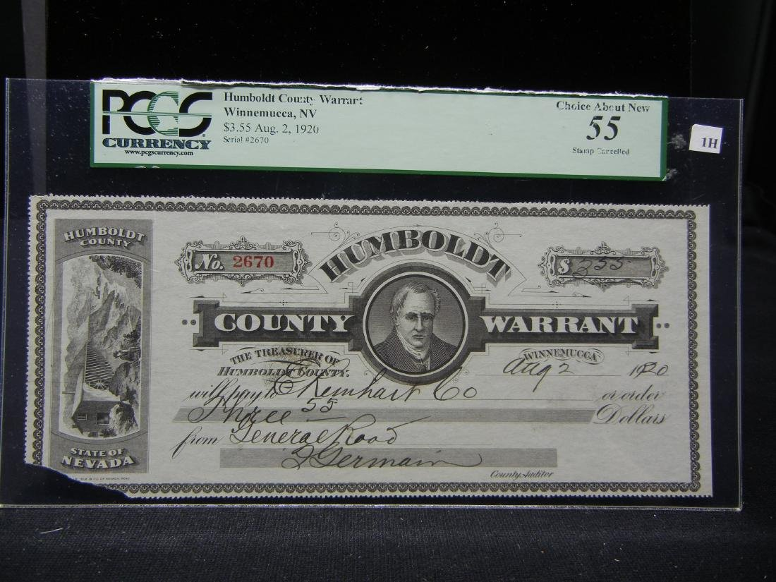 Humboldt County Warrant.  Winnemucca, NV.  $3.55 Aug.