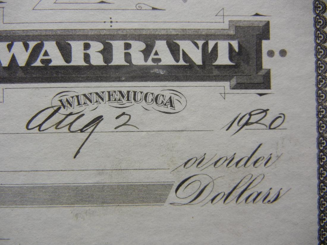 Humboldt County Warrant.  Winnemucca, NV.  $3.55 Aug. - 2
