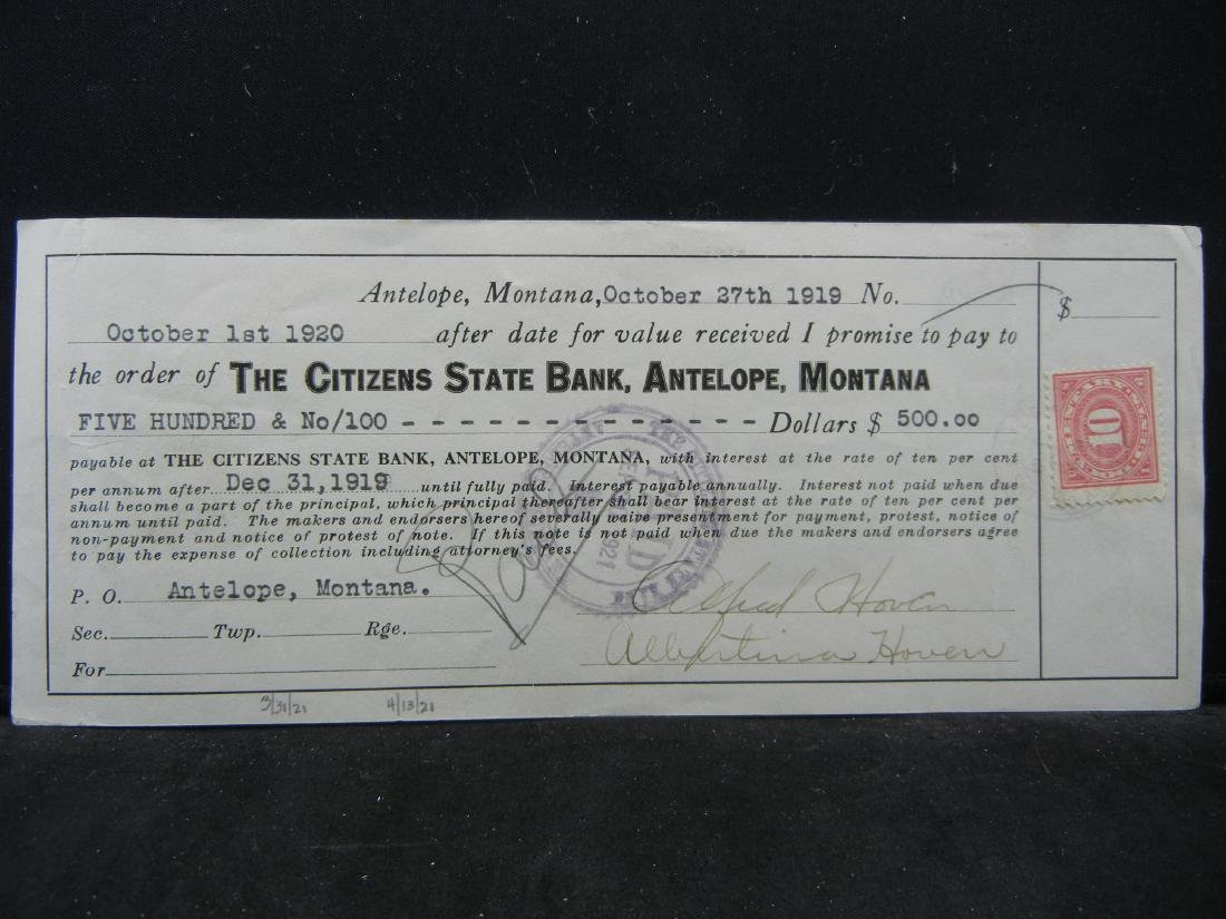 1920 Antelope, Montana.  $500 Promissory Note.