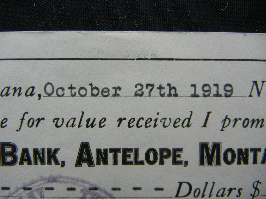 1920 Antelope, Montana.  $500 Promissory Note. - 2