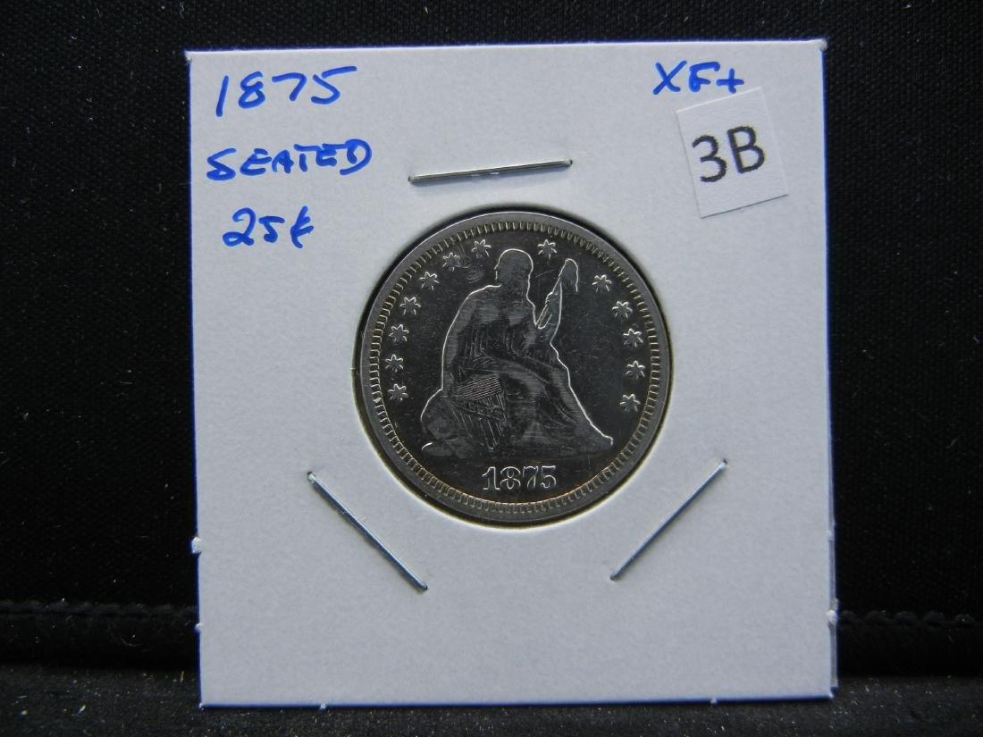 1875 Seated Quarter.  XF+. - 3