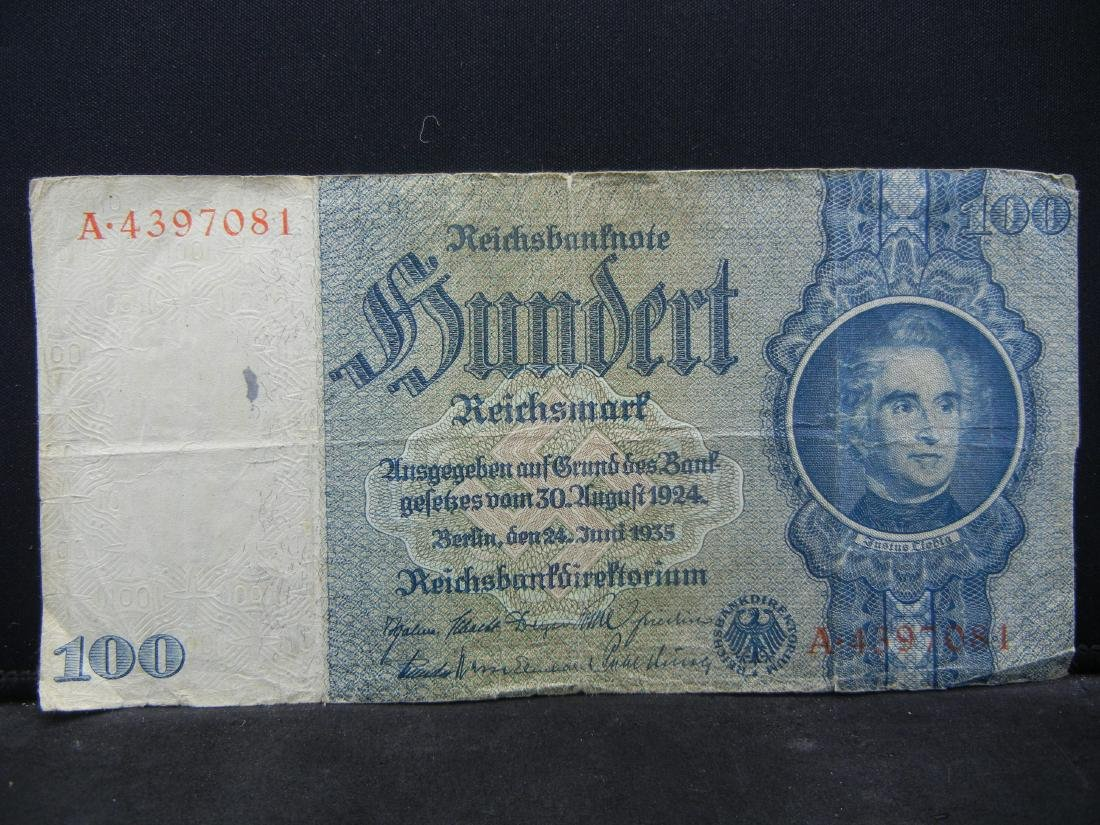 1924 Germany 100 Reich Marks Bank Note.  Serial #