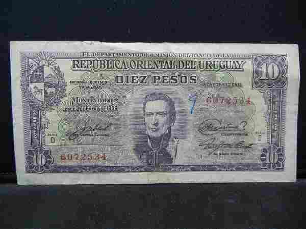 1939 Uruguay 10 Pesos Bank Note