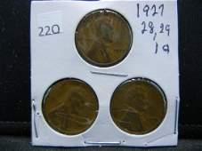 1927 28 29 Lincon Wheat Cents