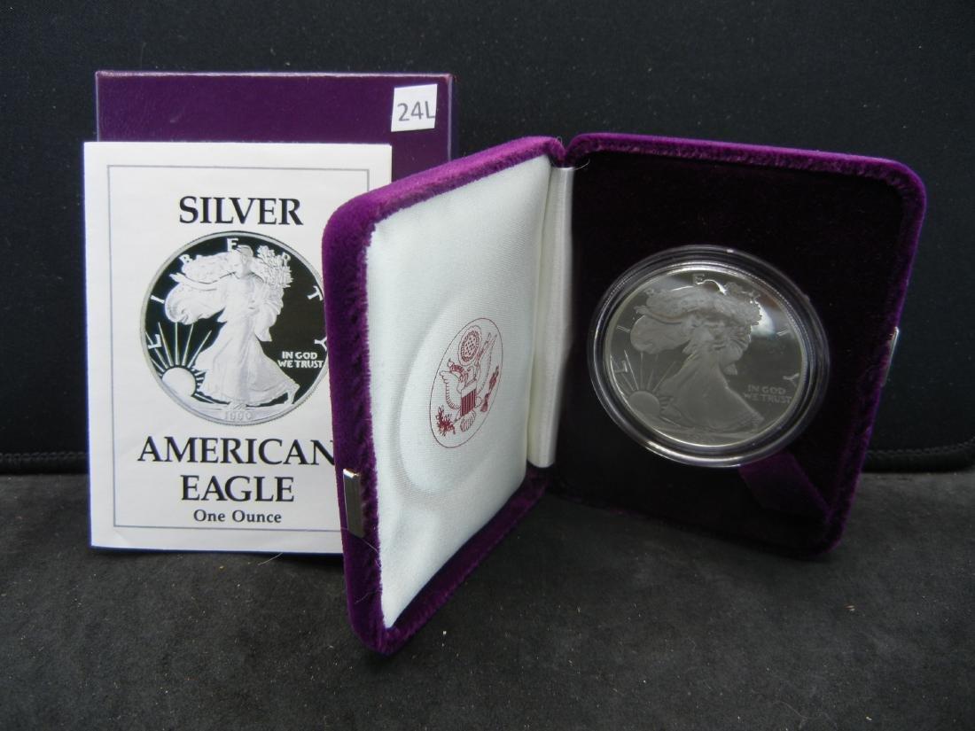 1990-S Proof Silver American Eagle With Box & COA.