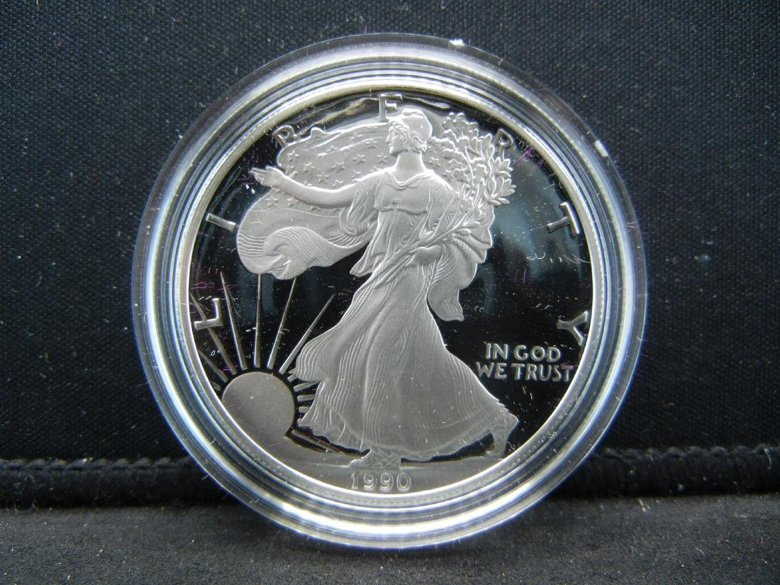 1990-S Proof Silver American Eagle With Box & COA. - 2