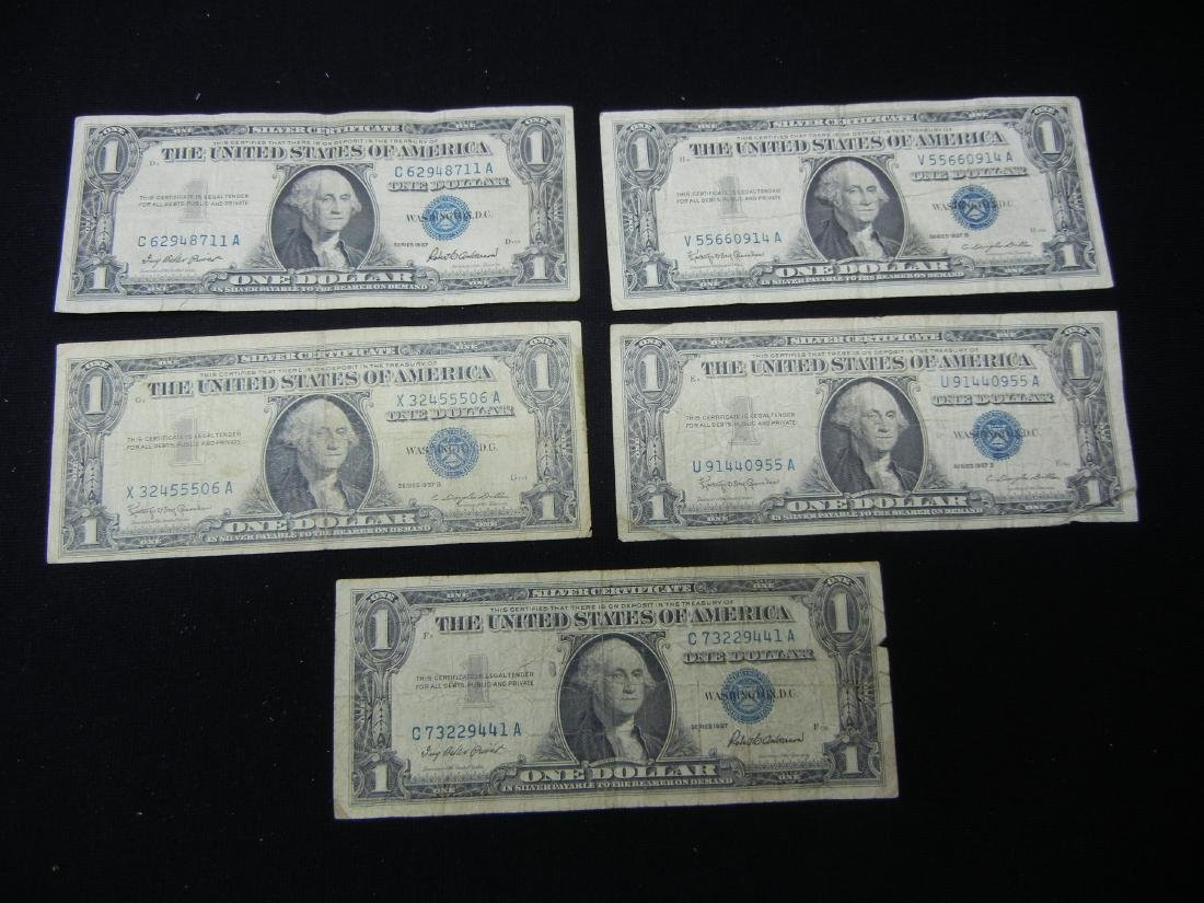 5-1957 $1 Blue Seal Silver Certificates.