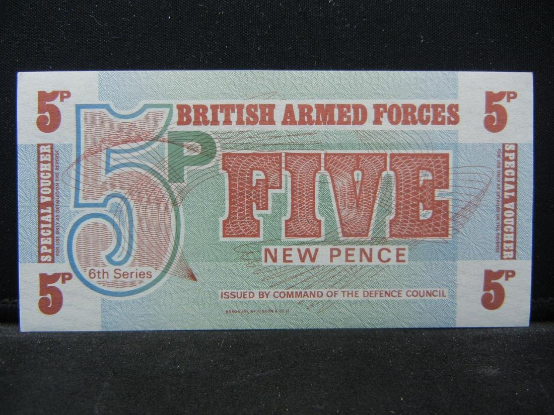 British Armed Forces 5 Pence Note Special Military