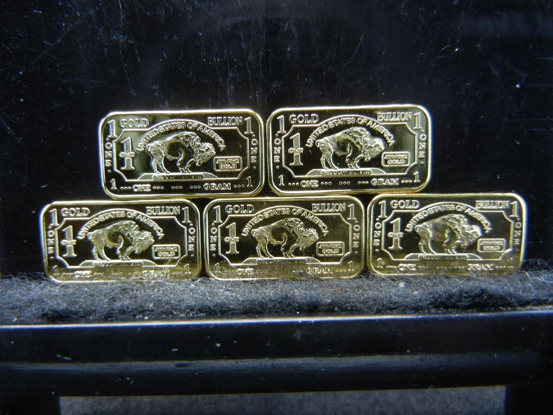 5 One Gram .999 Fine Gold Buffalo Collector Bars Clad