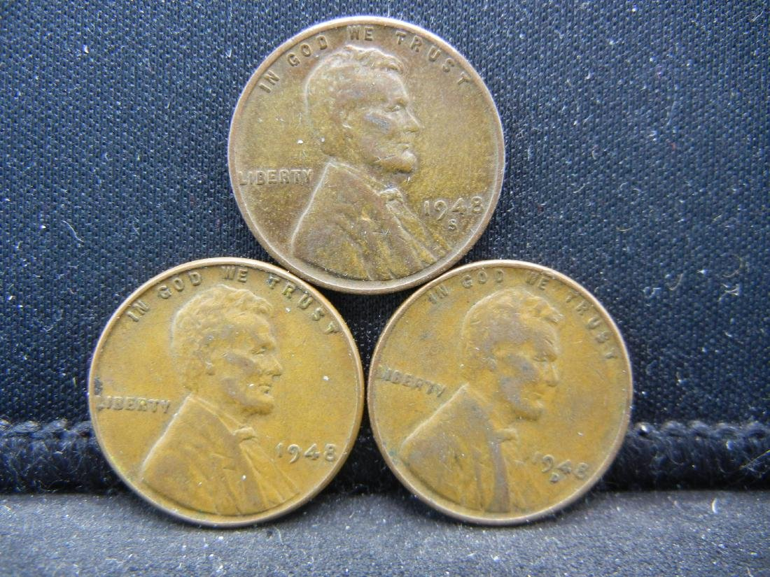 1948-P, D, S Lincoln Wheat Cents
