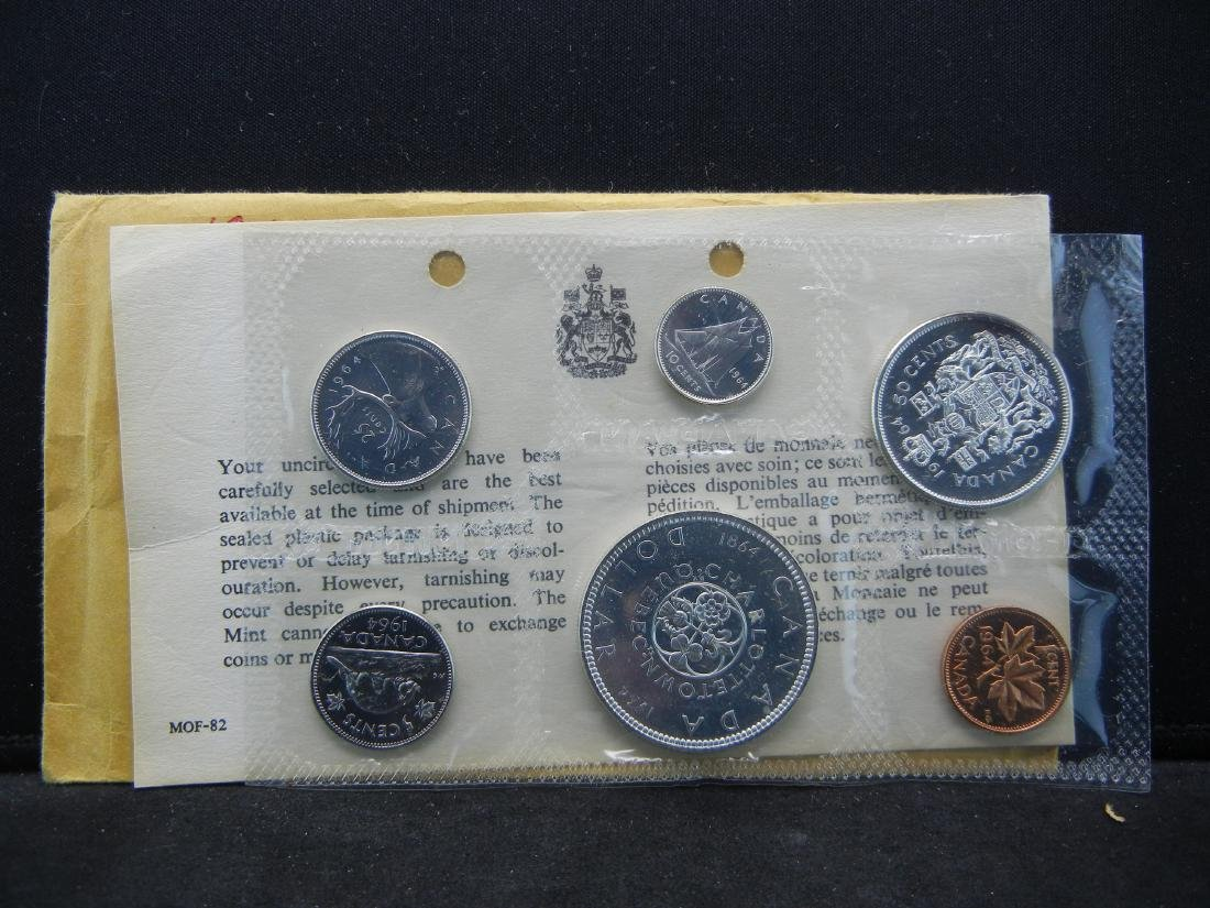 1964 Canada 6-Coin 80% Silver Proof Set With COA.