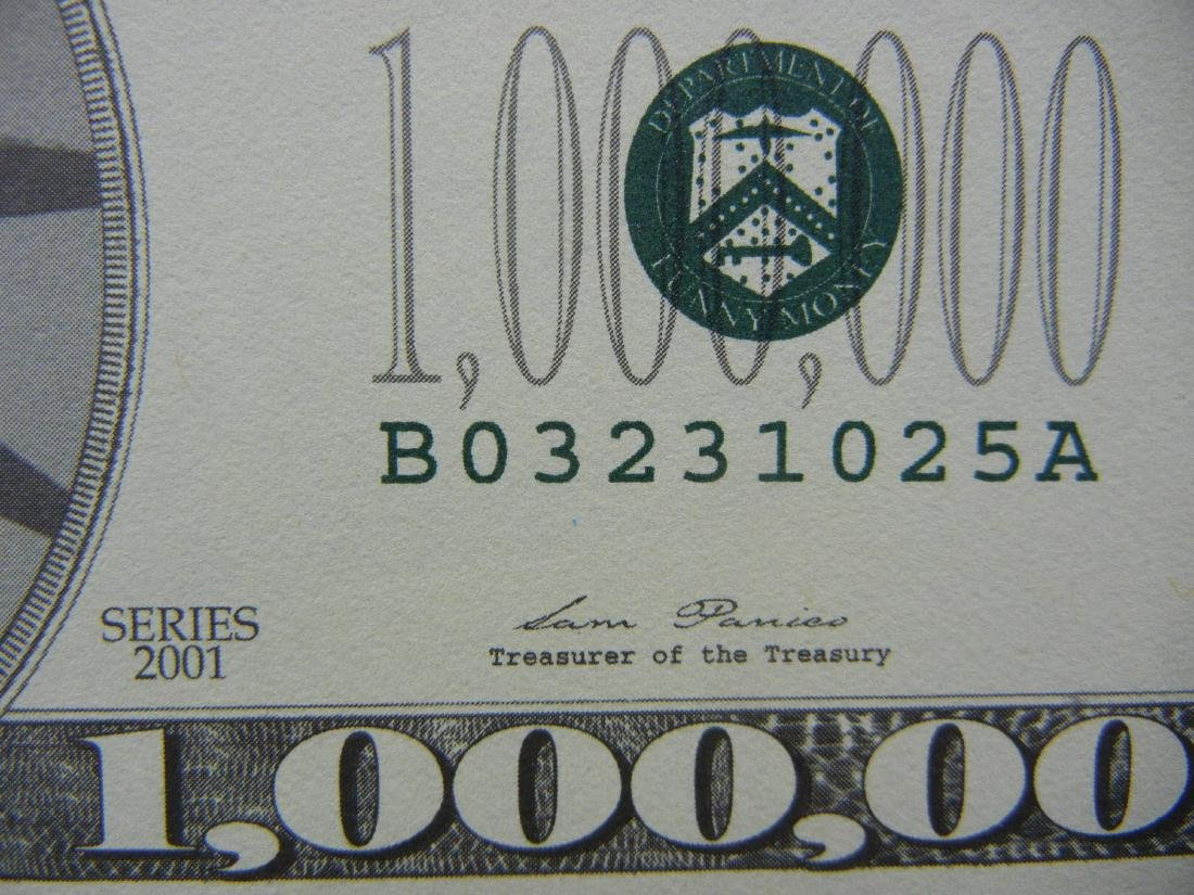 One Million Dollars Patriotic Novelty Note. - 2