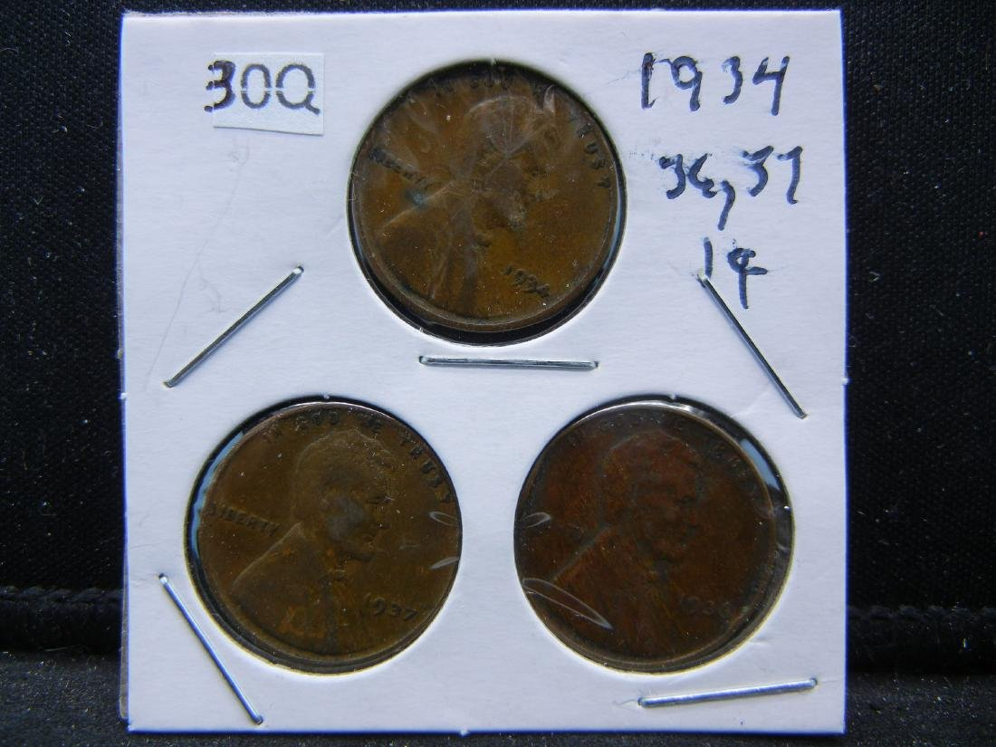 1934, 36, 37 Lincoln Wheat Cents
