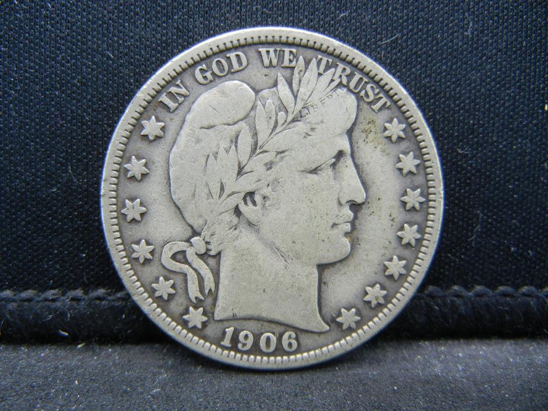 1906 Barber Half Dollar, Readible Liberty, Fine or