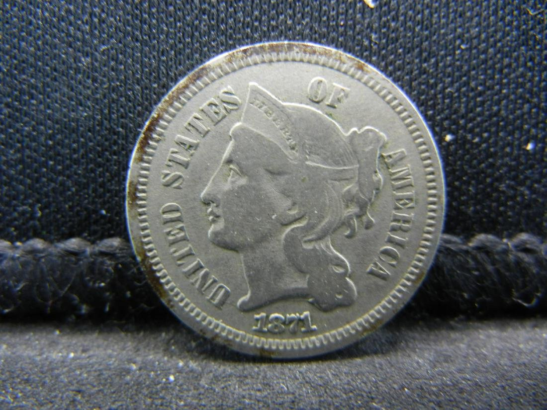 1871 Three Cent Nickel, Fine+ Condition.