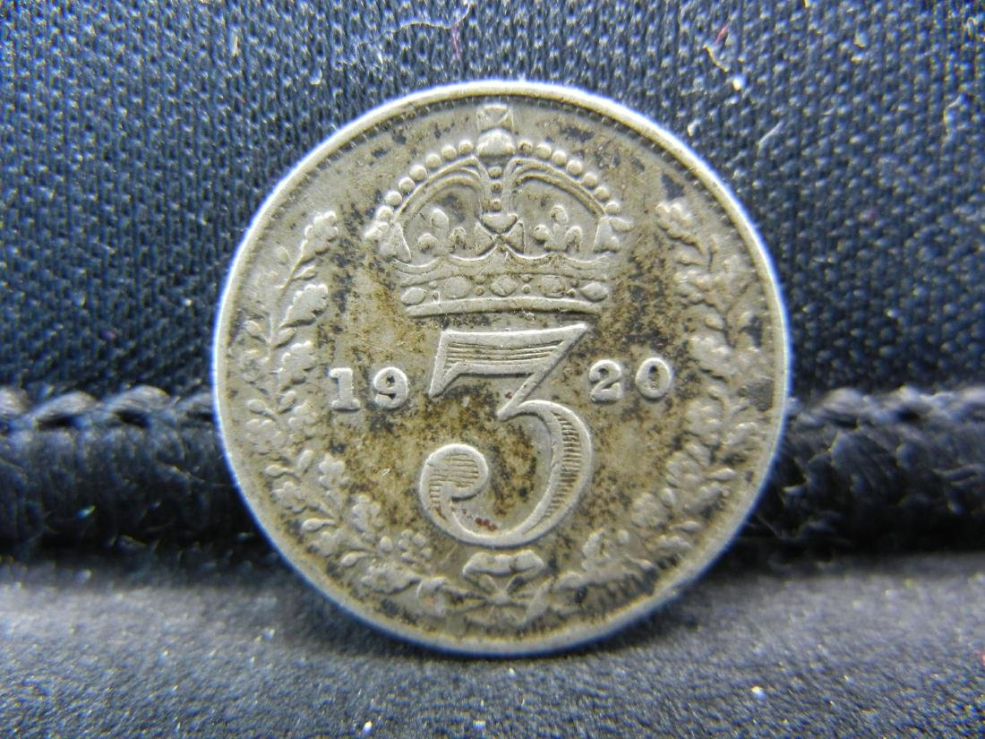 1920 Great Britain 3 Pence 50% Silver Coin, Weighs 0.05