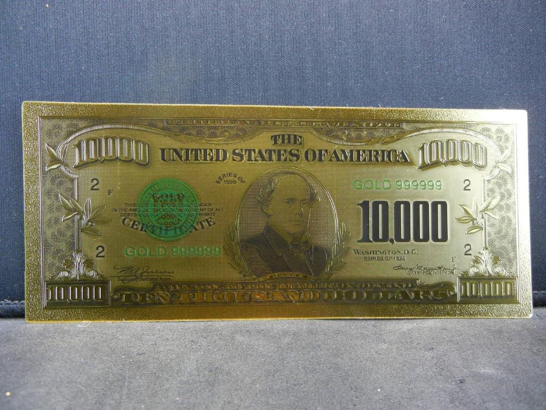 1928 $10,000 Gold Certificate 24K Gold Foil Note Not
