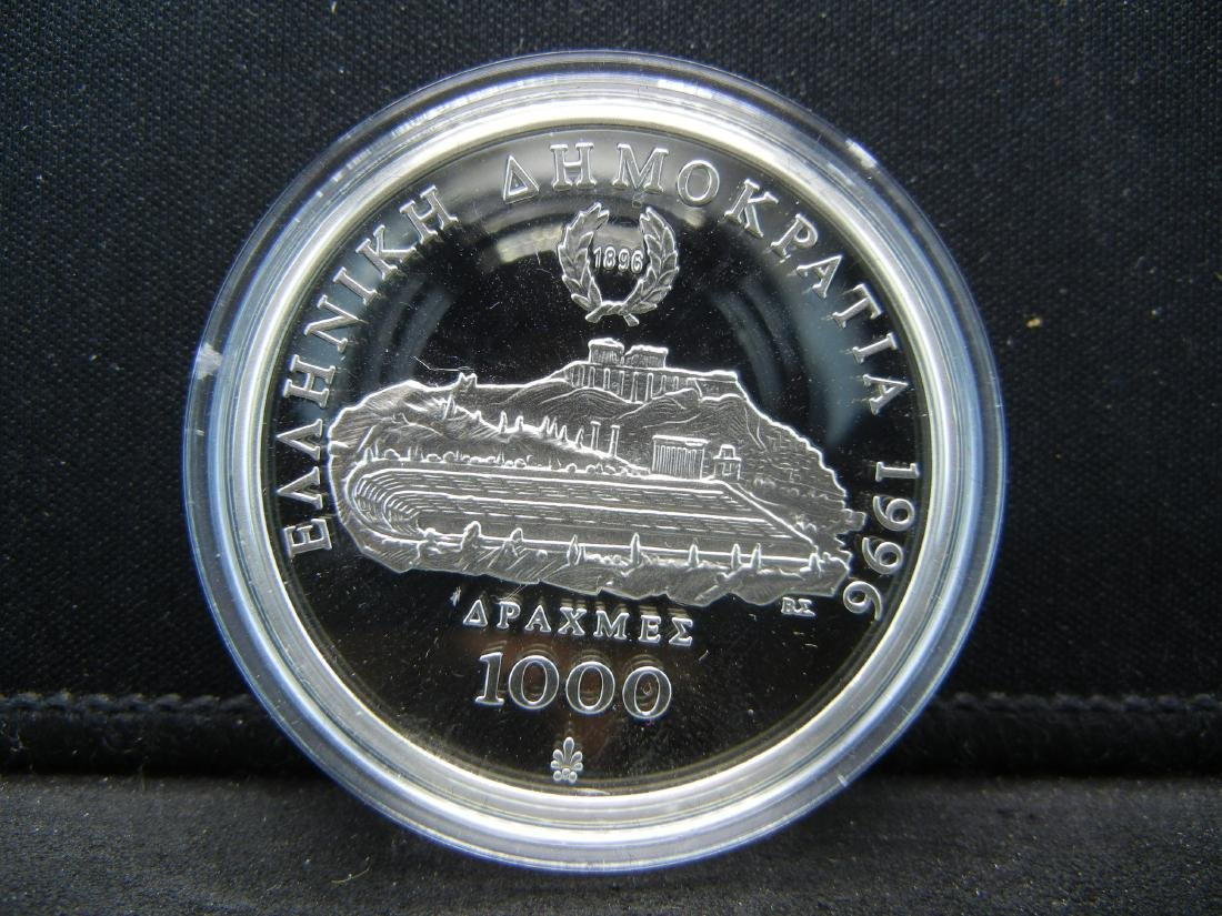 1996 Greece 1000 Drachma Proof Sterling Silver Coin - 3