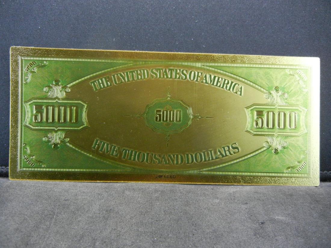 1928 $5,000 Gold Certificate 24K Gold Foil Note Not - 2