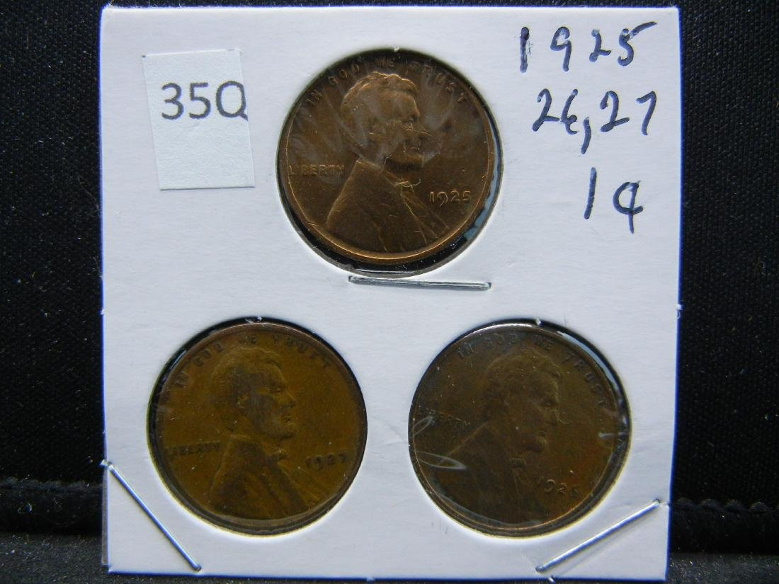 1925, 1926, 1927 Lincoln Wheat Cents