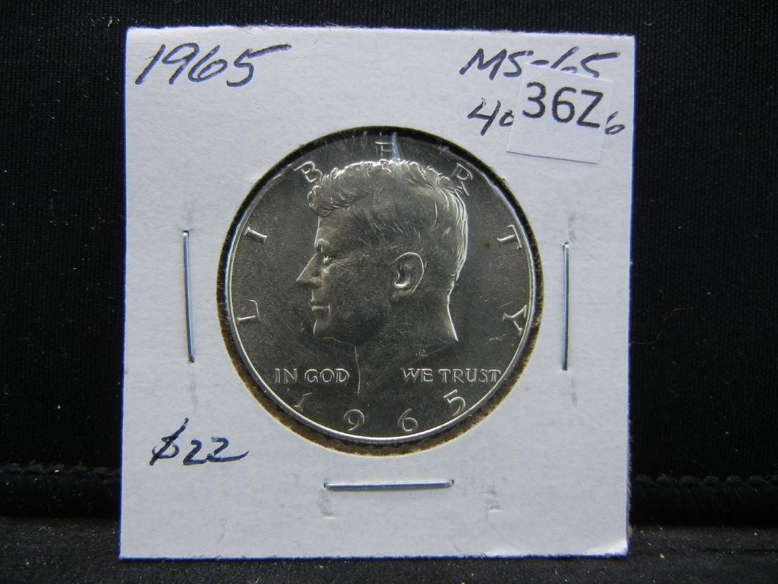 1965 40% Silver Kennedy Half Dollar - 3
