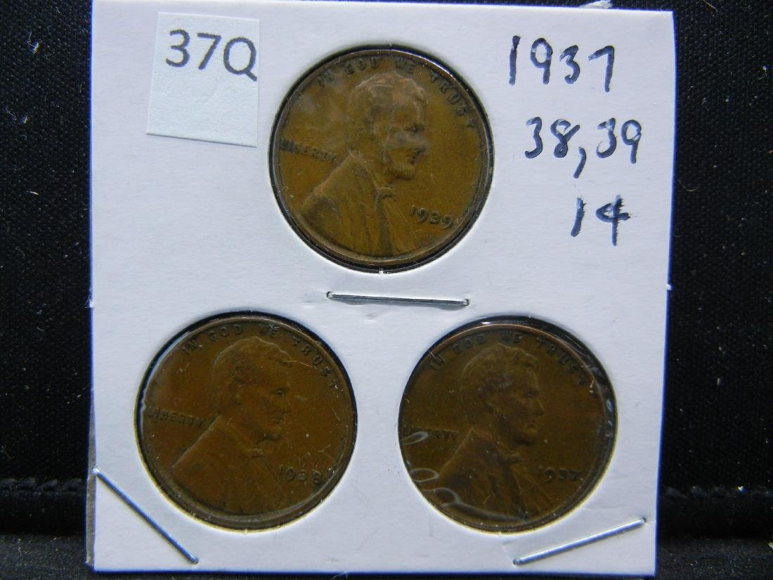 1937, 1938, 1939 Lincoln Wheat Cents