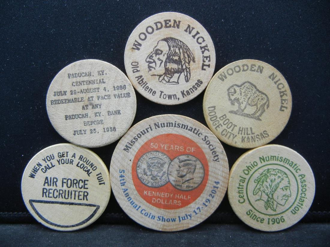 Group of 6 Different Wooden Nickels. - 2