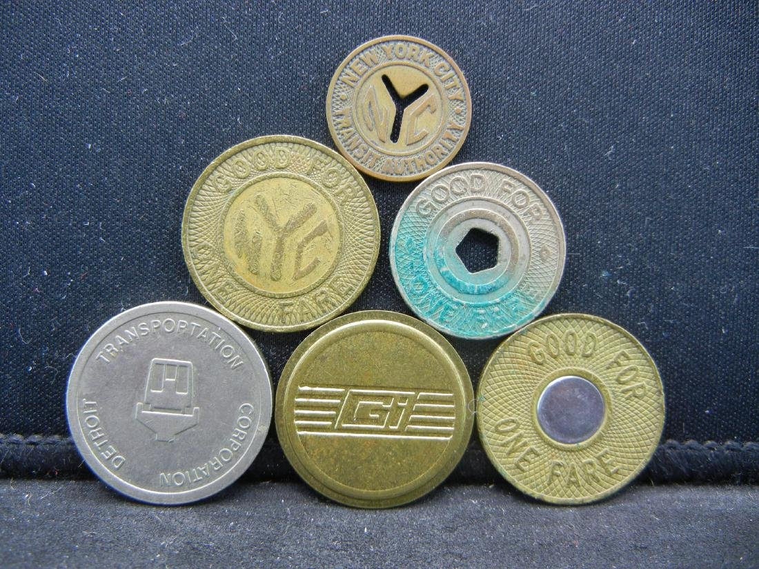 Group of 6 Different Transit Fare Tokens.