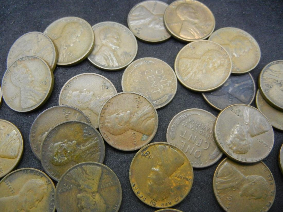 50 Mintmarked Wheat Cents all Dated in the Thirties. - 3
