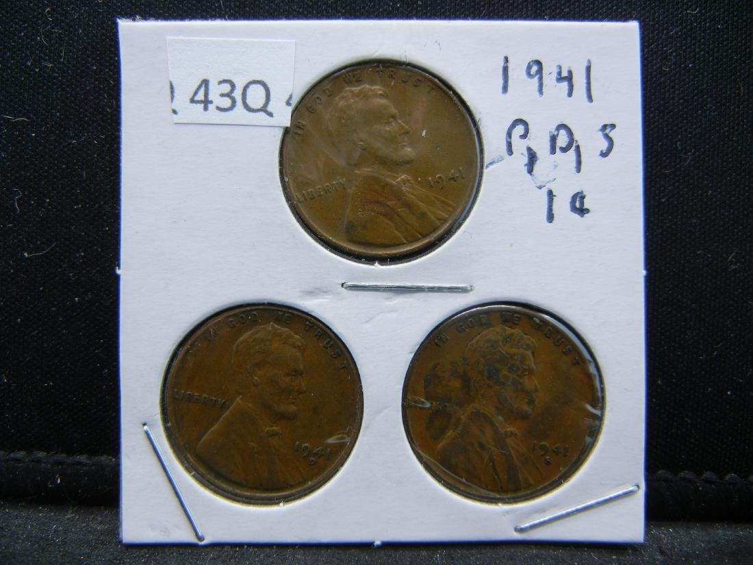 1941-P, D, S Lincoln Wheat Cents