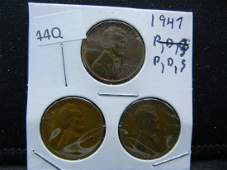 1947P D S Lincoln Wheat Cents