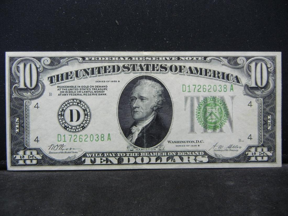 1928-B $10 Federal Reserve Note, Nice Crisp Note.
