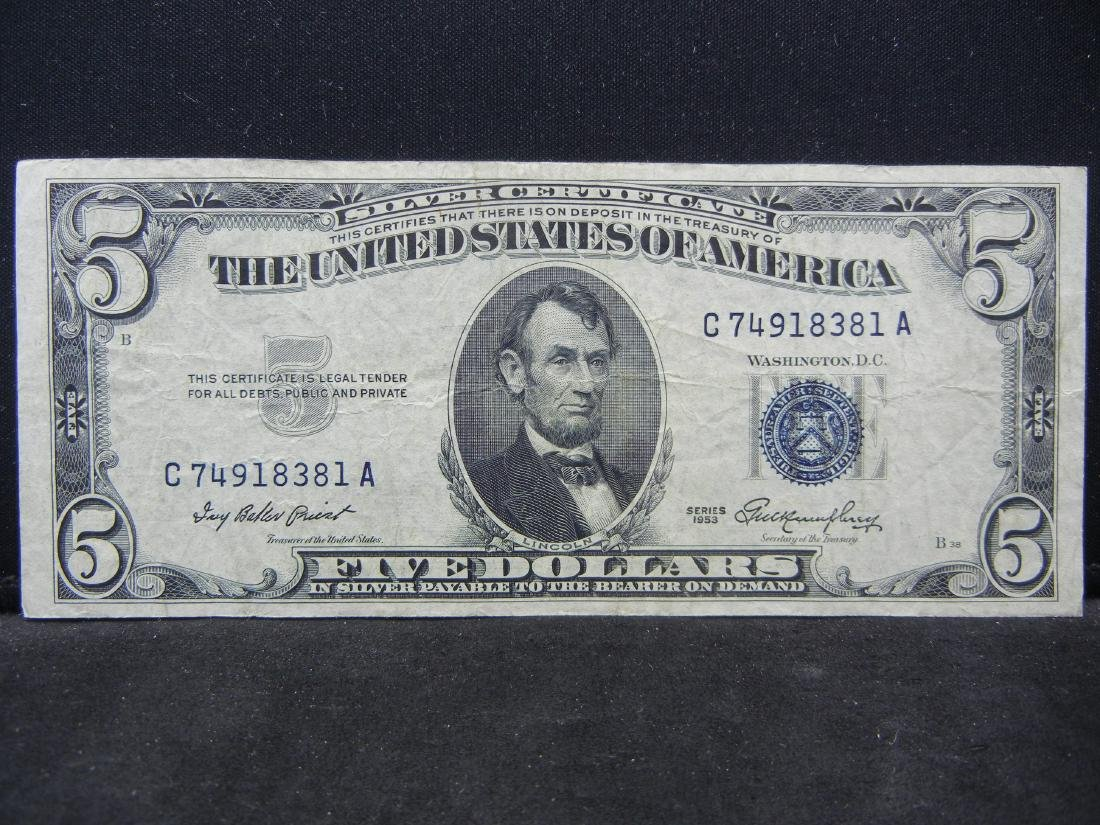1953 $5 Blue Seal Silver Certificate.  Serial #