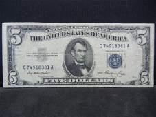1953 5 Blue Seal Silver Certificate Serial