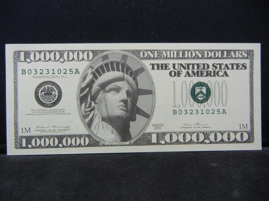 2001 One Million Dollars Patriotic Novelty Note.