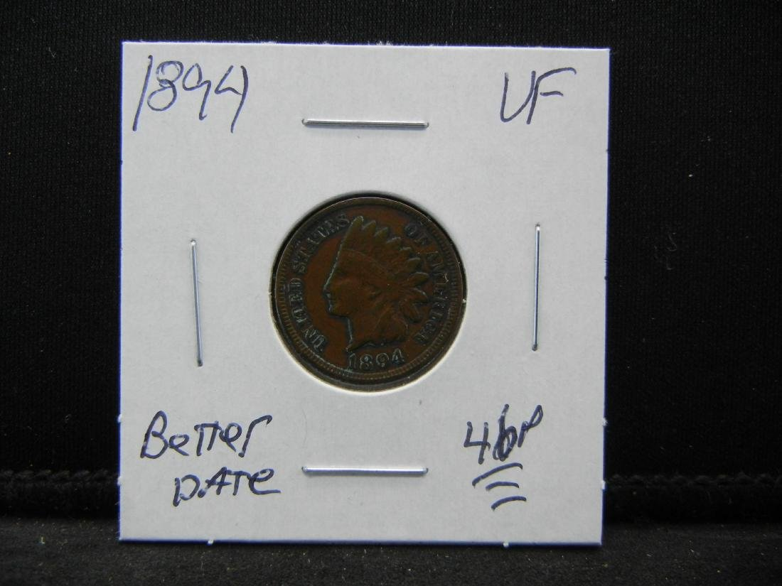 1894 Indian Cent Very Fine Better Date - 3