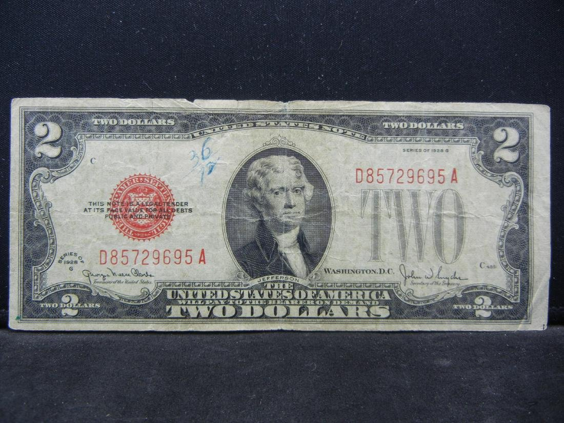 1928-G $2 Red Seal United States Note.  Serial #