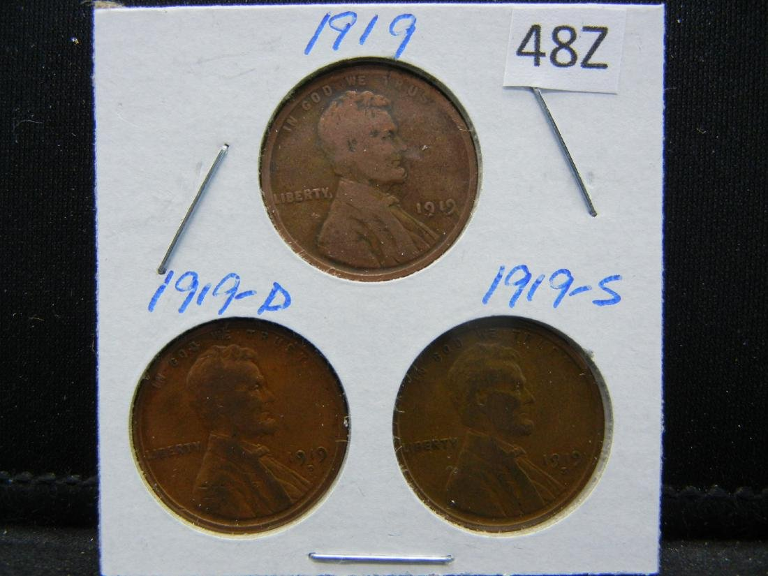 1919-P, D, S Lincoln Wheat Cents