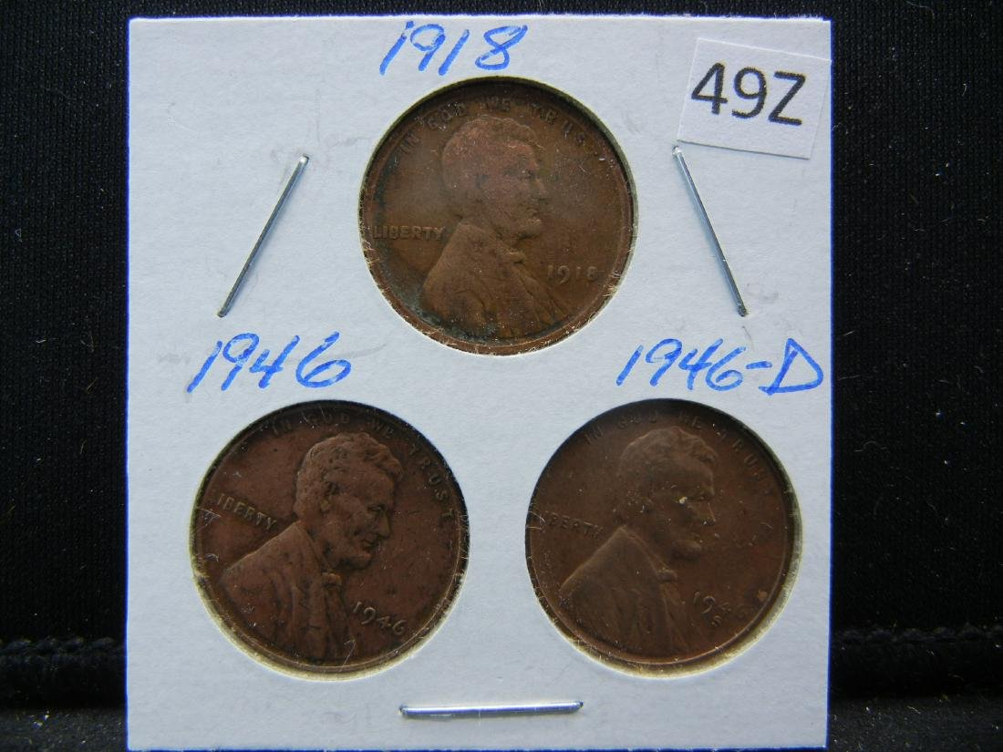 1918, 1946, 1946-D Lincoln Wheat Cents