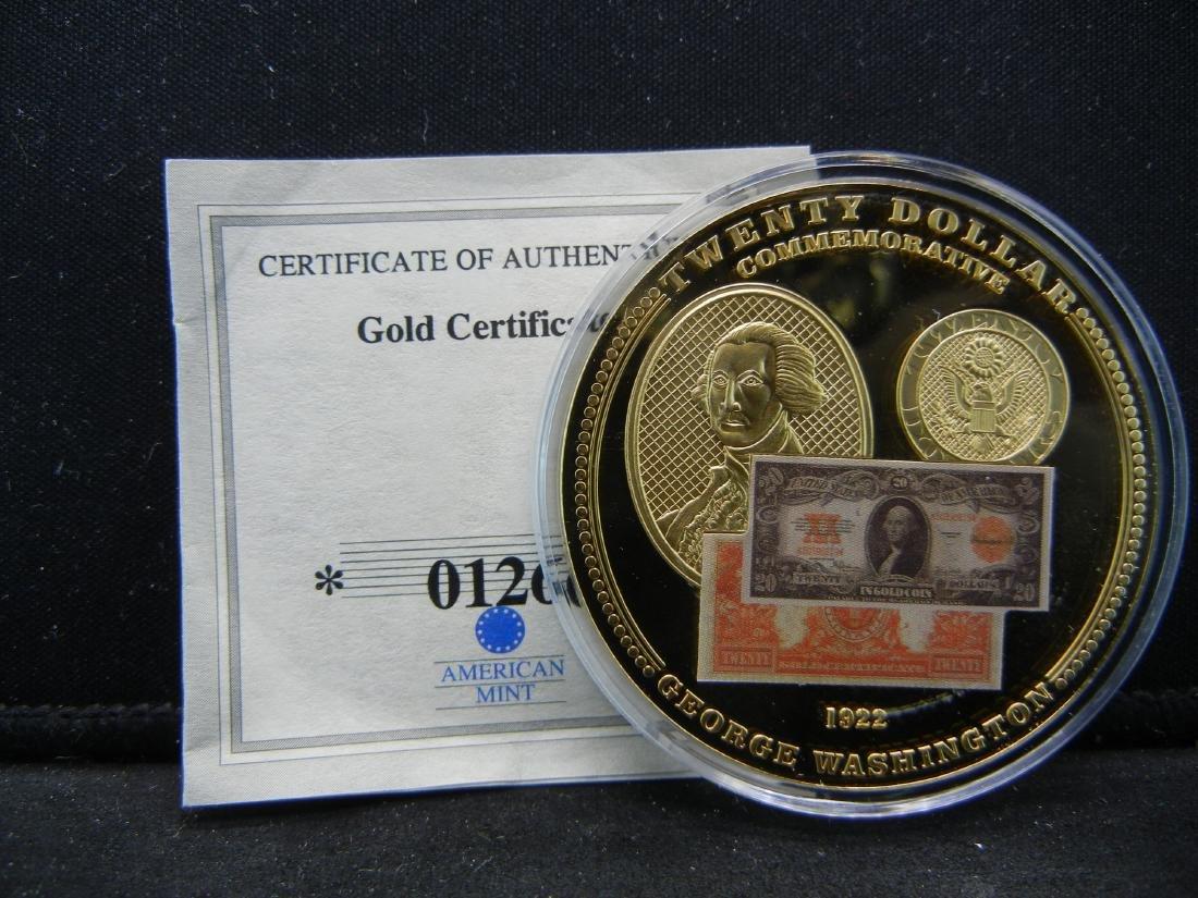 1922 $20 Gold Certificate Depicting George Washington