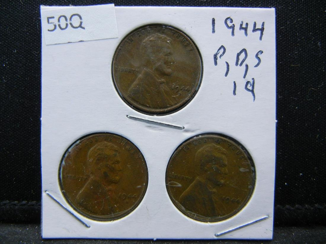 1944-P, D, S Lincoln Wheat Cents