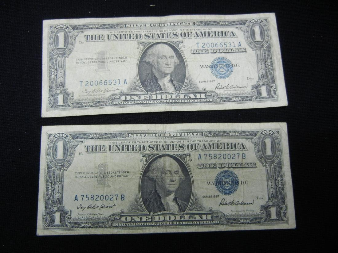 (2)1957 $1 US Silver Certificates